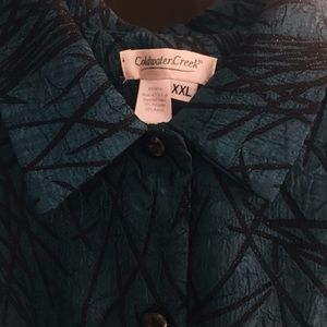Coldwater Creek Teal and black button down jacket